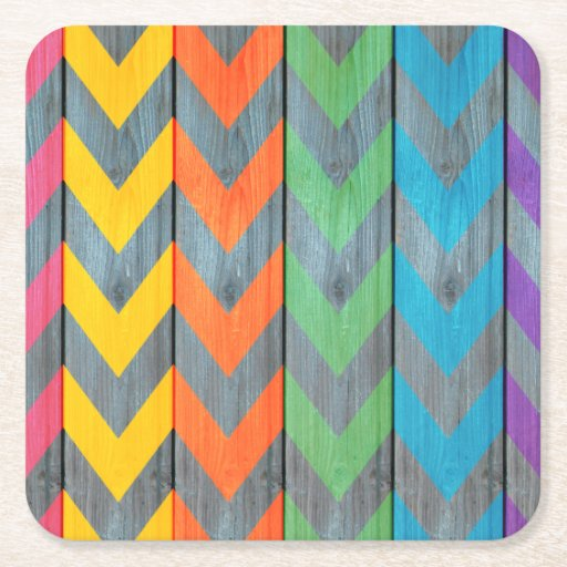 Chevron Pattern On Wood Texture Square Paper Coaster