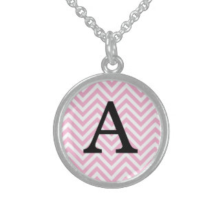 Chevron Pattern Personalized Name Monogram Initial Sterling Silver Necklace