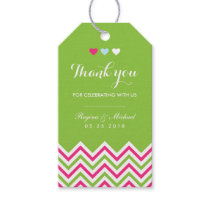 Chevron Pattern Pink and Green Wedding Gift Tag