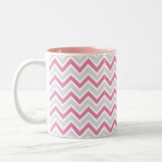 Chevron Pattern Pink & Grey Modern Two-Tone Coffee Mug