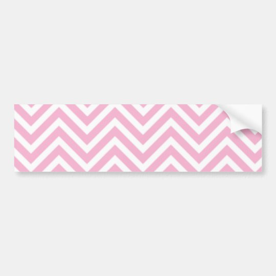 Chevron Pattern Pink White ZigZag For Her Bumper Sticker