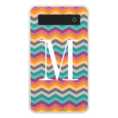 Chevron Pattern Power Bank With Custom Monogram at Zazzle