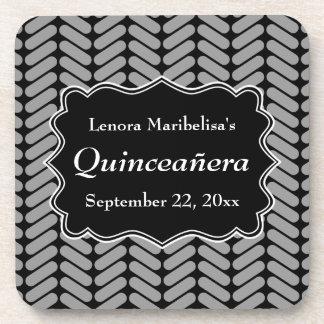 Chevron Pattern Quinceanera Beverage Coasters