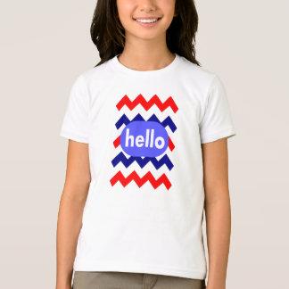 chevron pattern red white blue hello girl's tees