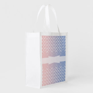 Chevron pattern rose quartz serenity ombre design grocery bags
