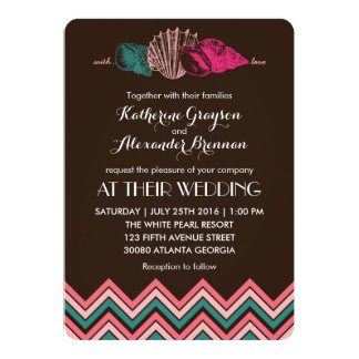 Chevron Pattern Seashells Beach Wedding Invitation