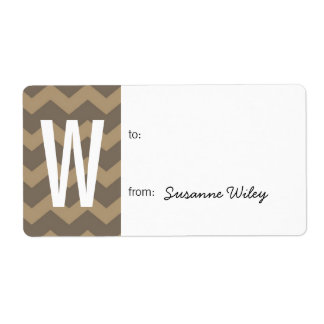 Chevron pattern smoke gray to from holiday gift label