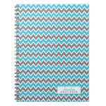 Chevron Pattern Trendy Notebook (aqua) notebooks