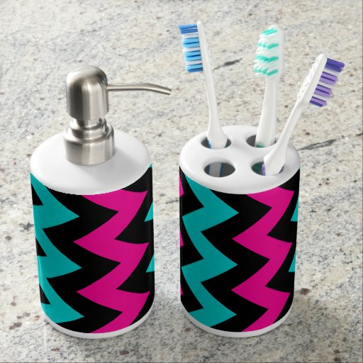 Chevron pattern turquoise hot pink and black bathroom set for Pink and black bathroom sets