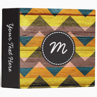 Chevron pattern vintage wooden. Custom monogram Binder