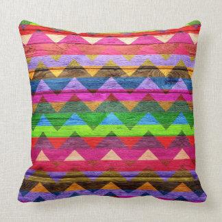 Chevron Pattern Vintage Wooden Throw Pillow