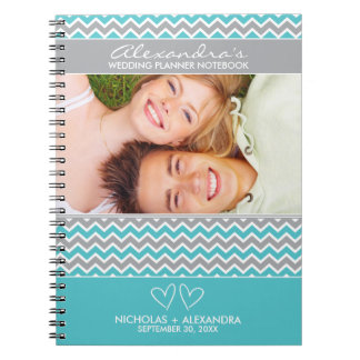 Chevron Pattern Wedding Planner Notebook (aqua)