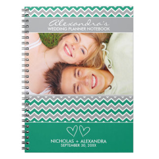 Chevron Pattern Wedding Planner Notebook (emerald)