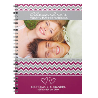 Chevron Pattern Wedding Planner Notebook (fuchsia)