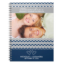 Chevron Pattern Wedding Planner Notebook (navy)