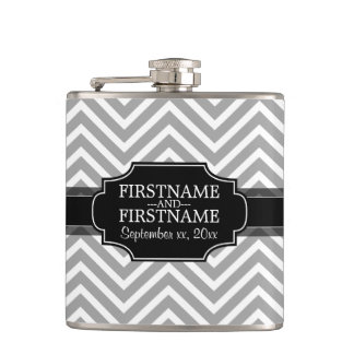 Chevron Pattern with Custom Wedding Names and Date Hip Flask
