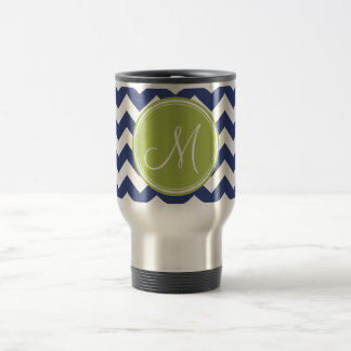 Chevron Pattern with Monogram - Navy Lime 15 Oz Stainless Steel Travel Mug