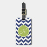 Chevron Pattern with Monogram - Navy Lime Bag Tag