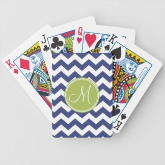 Chevron Pattern with Monogram - Navy Lime Bicycle Playing Cards