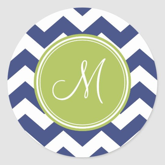 Chevron Pattern with Monogram - Navy Lime Classic Round Sticker