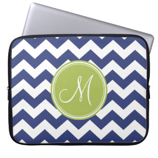Chevron Pattern with Monogram - Navy Lime Computer Sleeve