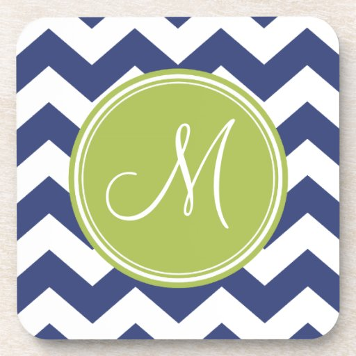 Chevron Pattern with Monogram - Navy Lime Drink Coasters