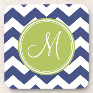 Chevron Pattern with Monogram - Navy Lime Drink Coaster