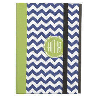 Chevron Pattern with Monogram - Navy Lime iPad Air Case