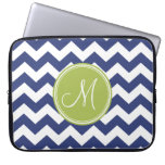Chevron Pattern with Monogram - Navy Lime Laptop Computer Sleeves