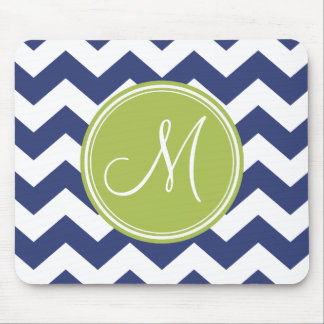 Chevron Pattern with Monogram - Navy Lime Mouse Pad