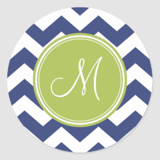 Chevron Pattern with Monogram - Navy Lime Stickers