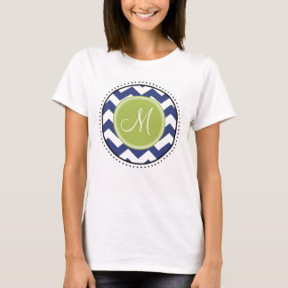 Chevron Pattern with Monogram - Navy Lime T-Shirt