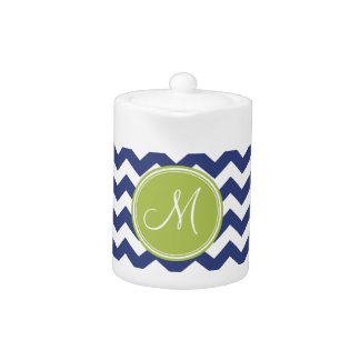 Chevron Pattern with Monogram - Navy Lime Teapot