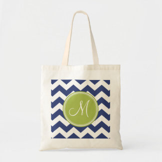 Chevron Pattern with Monogram - Navy Lime Tote Bag