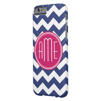 Chevron Pattern with Monogram - Navy Magenta Barely There iPhone 6 Case