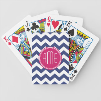 Chevron Pattern with Monogram - Navy Magenta Bicycle Playing Cards