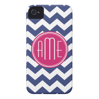 Chevron Pattern with Monogram - Navy Magenta Case-Mate iPhone 4 Cases