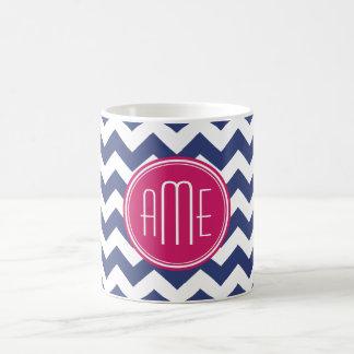 Chevron Pattern with Monogram - Navy Magenta Classic White Coffee Mug