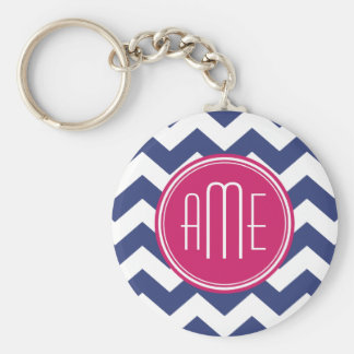 Chevron Pattern with Monogram - Navy Magenta Keychain