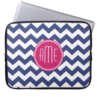 Chevron Pattern with Monogram - Navy Magenta Laptop Sleeve