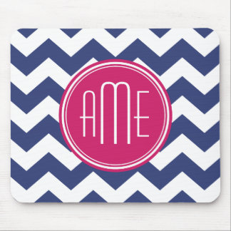 Chevron Pattern with Monogram - Navy Magenta Mouse Pad