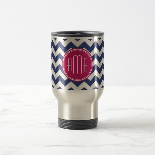 Chevron Pattern with Monogram - Navy Magenta Mug