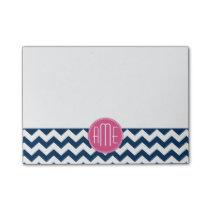 Chevron Pattern with Monogram - Navy Magenta Post-it Notes