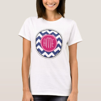 Chevron Pattern with Monogram - Navy Magenta T-Shirt
