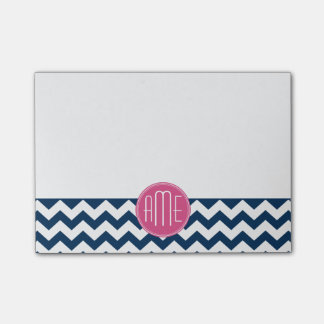 Chevron Pattern with Monogram - Navy Magenta Post-it® Notes