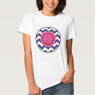 Chevron Pattern with Monogram - Navy Magenta Tee Shirt