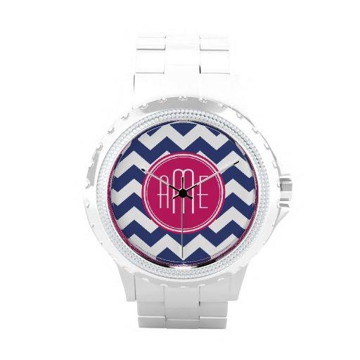 Chevron Pattern with Monogram - Navy Magenta Wrist Watches