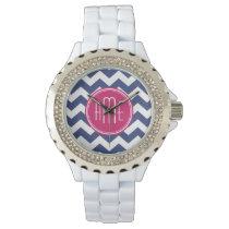 Chevron Pattern with Monogram - Navy Magenta Watches