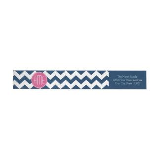 Chevron Pattern with Monogram - Navy Magenta Wrap Around Label
