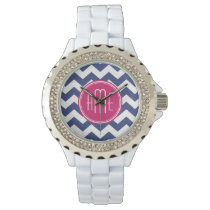 Chevron Pattern with Monogram - Navy Magenta Wrist Watch